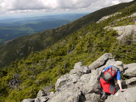 Batya scrambling toward the summit, Mt. Mansfield, Chittenden County, Vermont