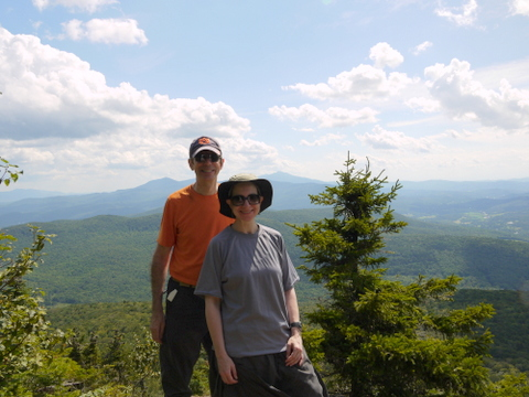 Charlie and Batya at Laraway Lookout, Laraway Mountain, Long Trail State Forest, Lamoille County, Vermont