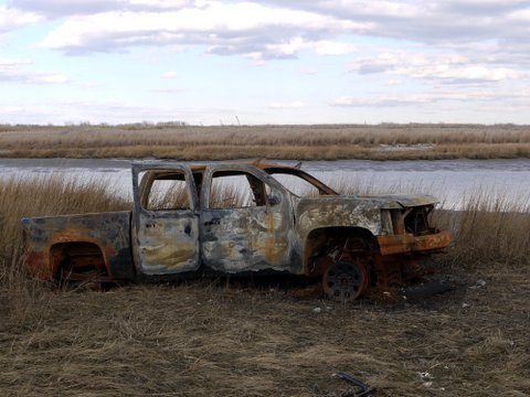 Burned truck, Marine Park, Brooklyn (Kings County), New York