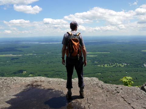 Charlie enjoying view of Hudson River Valley, Kaaterskill Wild Forest, Greene County, New York
