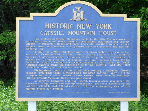 Plaque describing the Catskill Mountain House, Kaaterskill Wild Forest, Greene County, New York