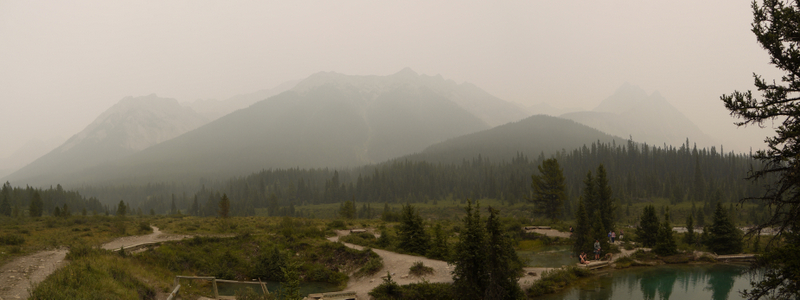 Panorama of Ink Pots and Meadow, Banff National Park, Alberta, Canada