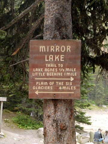 Sign with imperial measurements, Banff National Park, Alberta, Canada