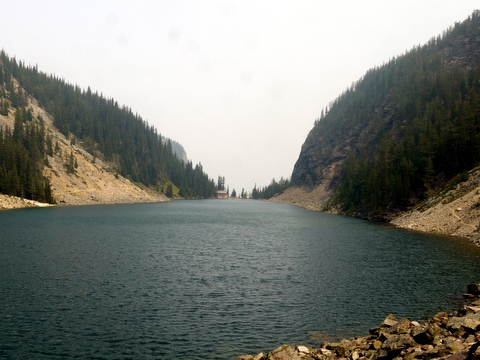 View along the length of Lake Agnes, from the southwestern end, Banff National Park, Alberta, Canada