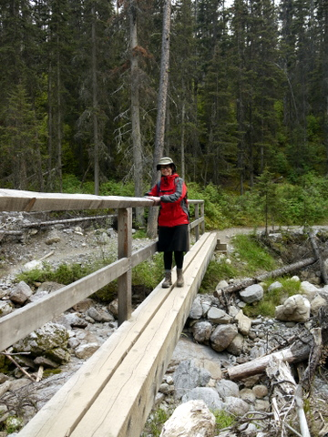 Batya crossing bridge at junction of Healy Pass Trail and Lower Simpson Pass Trail, Banff National Park, Alberta, Canada