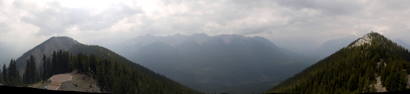 Stitched Panorama from Observation Deck of Sulphur Mountain, Banff National Park, Alberta, Canada